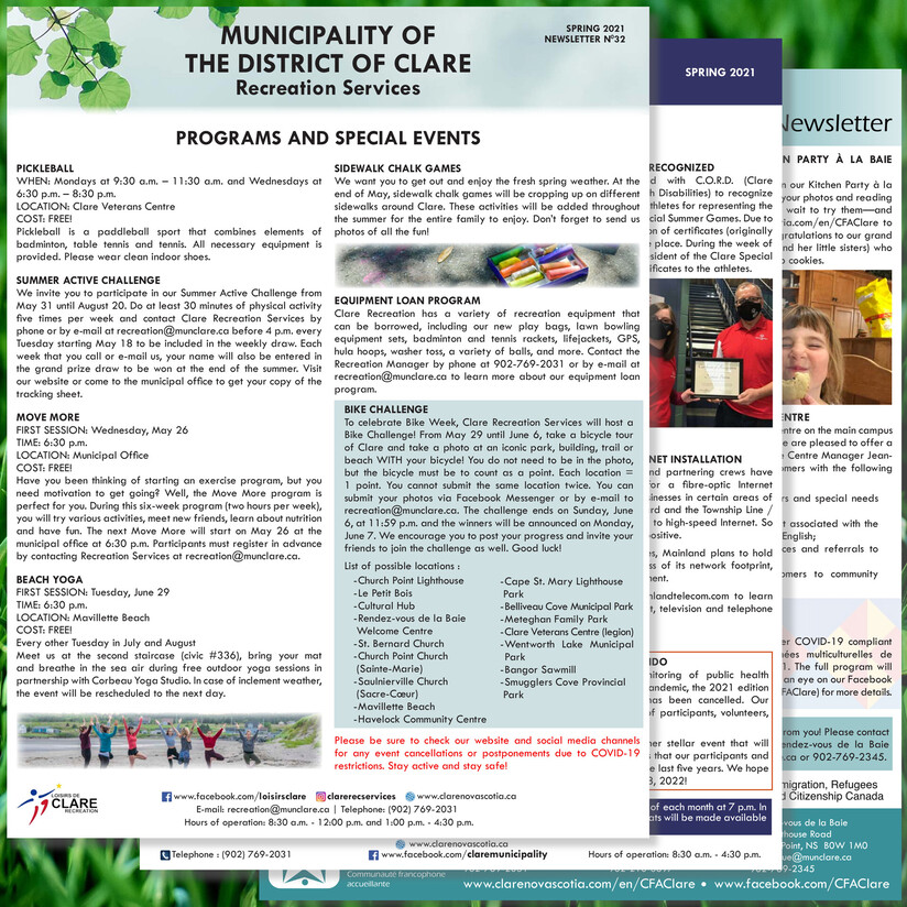 Snapshot of the Municipality of Clare's Spring 2021 newsletter.
